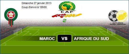 Maroc vs Afrique du Sud Coupe d'Afrique des Nations CAN 2013 Dimanche 27/1/2013 Afrique du Sud