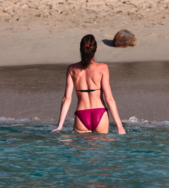 Stephanie Seymour - Wearing a bikini on the beach in St Barts
