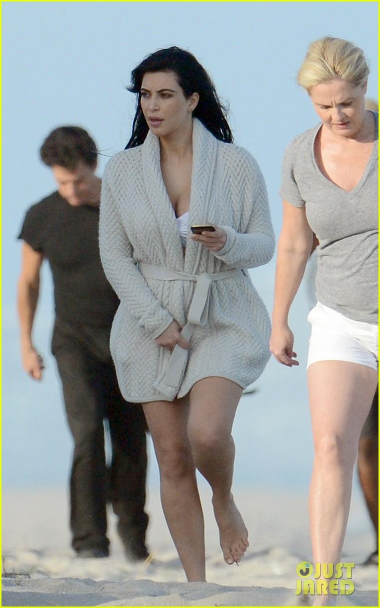 Kim Kardashian Pregnant Bikini Coverup at Photo Shoot 2013