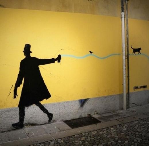 رسومات فنان إيطالي على الجدران قمة في الروعة