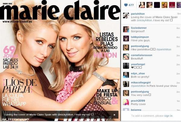 """صورة باريس ونيكي هيلتون على غلاف مجلة """"Marie Claire"""" 2013"""