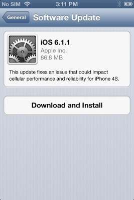 OS 6.1.1 is released only for Iphone 4S
