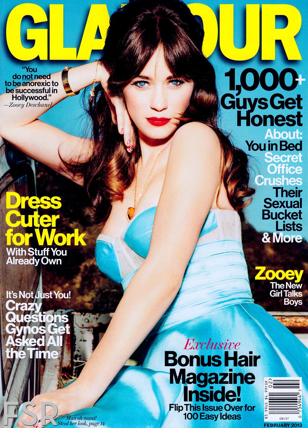 Zooey Deschanel In Glamour Magazine, February 2013