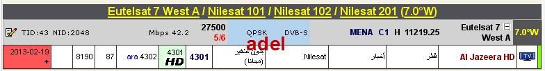 ���� �����  Nilesat 101/102/201@ 7� West - ���� Al Jazeera HD -������� - ���� ����� (�����).