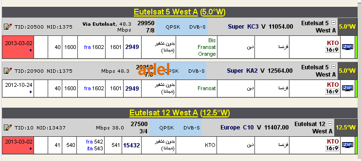 ���� �����  Eutelsat 12 West A @ 12.5� West - ���� KTO - ���� ���  Eutelsat 5 West A @ 5� West