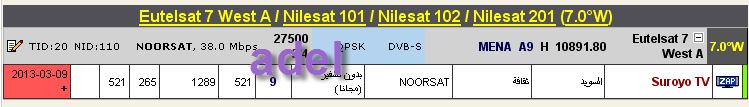 ���� ����� Nilesat 102/201 @ 7� West - ���� Suroyo TV-���� ����� (�����).
