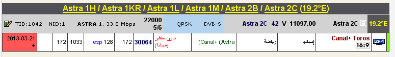 ���� ����� Astra 1H/1KR/1L/1M/2C @ 19.2� East - ���� Canal+ Toros- (�������) ��� ����� �����