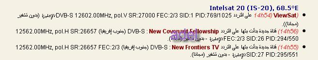 ���� ����� Intelsat 20 (IS-20) @ 68.5� East - ����� �����
