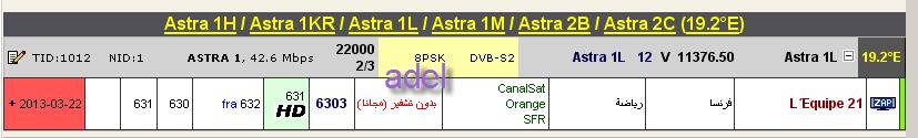 ���� ����� Astra 1H/1KR/1L/1M/2C @ 19.2� East - ���� L�Equipe 21(�����) ��� ����� ����� ��� �������