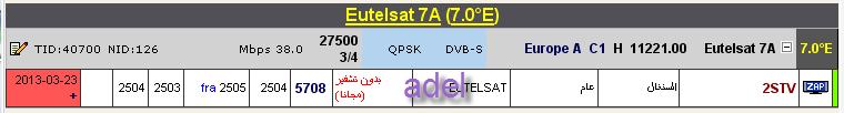 جديد القمر Eutelsat 7A @ 7° East - قناة 2STV- (السنغال) تبث حاليا مجانا و على المباشر