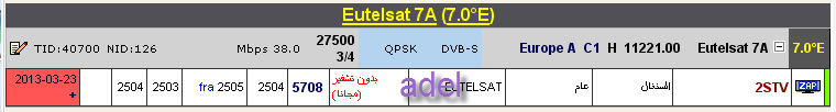 ���� ����� Eutelsat 7A @ 7� East - ���� 2STV- (�������) ��� ����� ����� � ��� �������