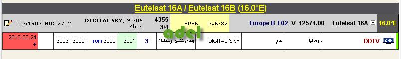 جديد القمر  Eutelsat 16A @ 16° East - قناة ddtv- مجانا وبدون تشفير