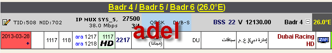 ���� ����� Badr-4/5/6 @ 26� East - ���� Dubai Racing HD-������� - ���� ����� (�����)