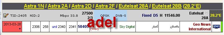 ���� ����� Astra 1N/2A/2F @ 28.5/28.2� E - ���� Geo News International- (�������) ��� ����� �����