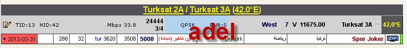 ���� �����  T�rksat 2A/3A @ 42� East - ���� Spor Joker- ��� ����� ����� � ��� �������