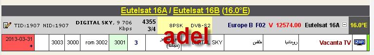 ���� ���� ����� Eutelsat 16A @ 16� East - ���� Vacanta TV- ���� ����� (�����)