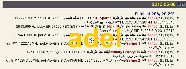 ���� ���� ����� Astra 1N/2A/2F @ 28.5/28.2� E- ���� BT Sport 1- ���� BT Sport 2-�����