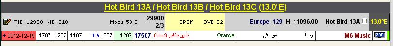 ���� ����� Hot Bird @ 13� East - ���� M6 Music - (�����) ��� ����� ����� � ��� �������