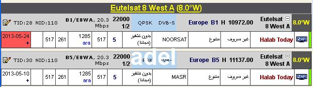 ���� ����� Eutelsat 8 West A @ 8� West - ���� Halab Today-�������- ���� ����� (�����)