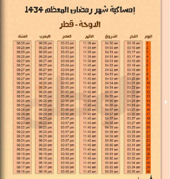 امساكية شهر رمضان 1434 بتوقيت قطر - امساكية شهر رمضان 2013 بتوقيت قطر