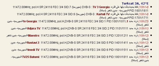 جديد القمر التركي  Türksat 2A/3A @ 42° East - القنوات الجيورجية- بدون تشفير (مجانا)