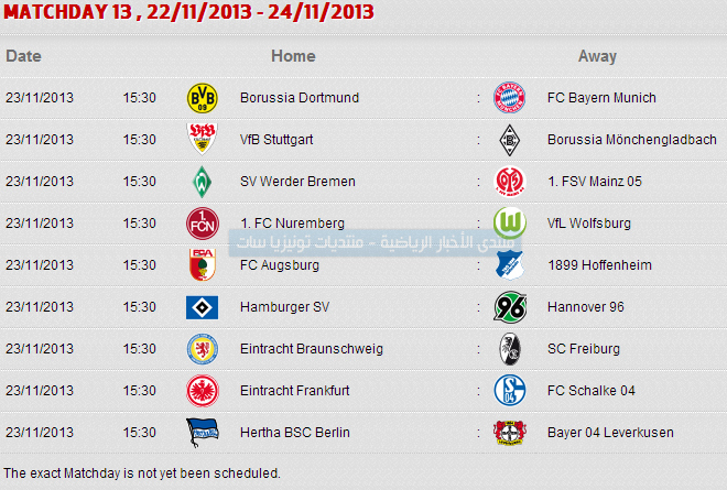 ���� ������� ������ �������� 2014 Bundesliga table