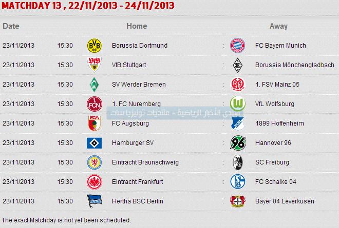 جدول مباريات الدوري الالماني 2014 Bundesliga table