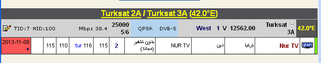 ���� ����� T�rksat 2A/3A @ 42� East - ���� Nur TV-������� - ���� ����� (�����)