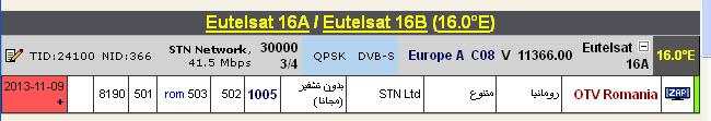 ���� �����  Eutelsat 16A @ 16� East - ���� OTV Romania-��������� - ���� ����� (�����)