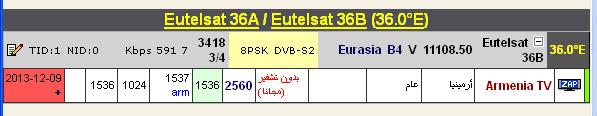 ����� ���� Eutelsat 36A/36B @ 36� East ���� Armenia TV ��� ����� ����� ���� �������