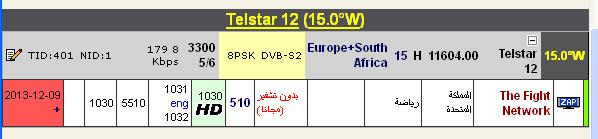 ���� ����� Telstar 12 @ 15� West  - ���� The Fight Network ��� ����� �����
