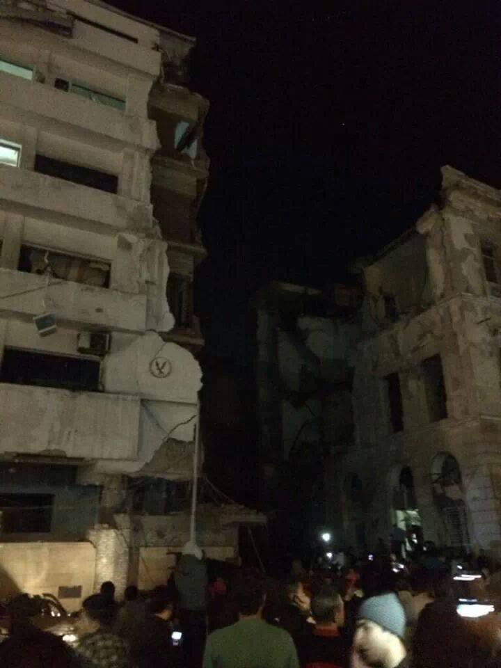 الصور الاوليه لانفجارات مدينه المنصوره الان 24-12-2013