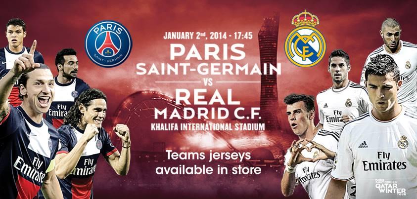 Paris Saint Germain vs Real Madrid today jeudi 2-1-2014