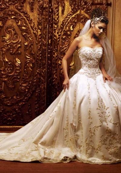 صور احلى فساتين العروس المذهبة 2014 , صور فساتين عرايس مخططة باللون الذهبي 2014