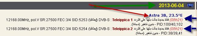 ���� �����  Astra 3B @ 23.5� East - ���� Teleippica 1- ���� Teleippica 2- ���� ����� (�����)