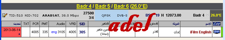 ���� �����  Badr-4/5/6 @ 26� East - ���� iFilm English-���������� - ���� ����� (�����)