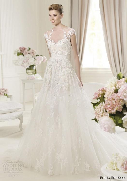 9109dd236 صور فساتين زفاف تصميم ايلي صعب 2014 , احدث فساتين اعراس ايلي صعب 2014