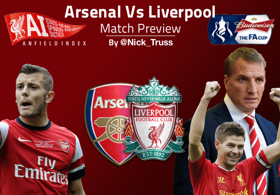 Arsenal and Liverpool in the FA Cup on Sunday 16/02/2014