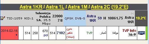 ���� ����� Astra 1KR/1L/1M/2C @ 19.2� East  ����TVP Info ��� ����� �����