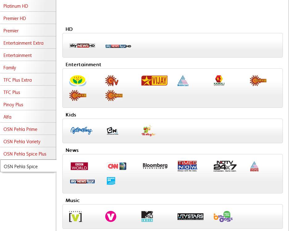 أسعار الاشتراك في باقة او اس ان osn في جميع الدول العربية 2014 , تعرف على باقات شبكة osn مع اسعار الاشتراك 2014