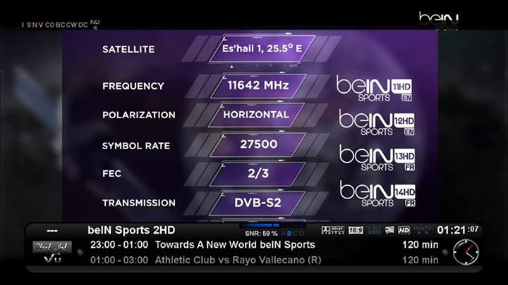 ������ ����� �� �� ����� ����� ���� 2014 Bein Sport Frequency