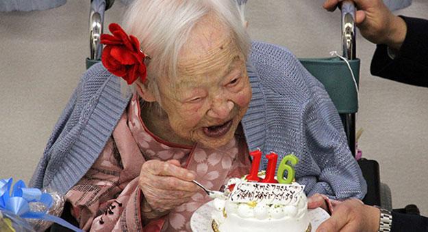 أكبر سيدة معمرة اليابان تحتفل