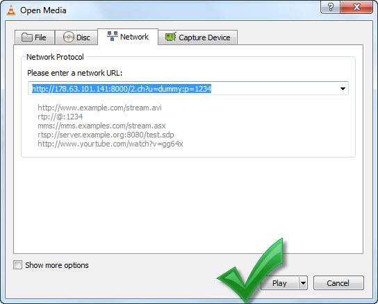 طريقة تشغيل الروابط المطروحة في القسم IPTV على برنامج VLC media player