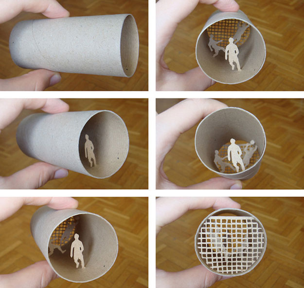 رسومات ومجسمات فنية مصنوعة لفافات