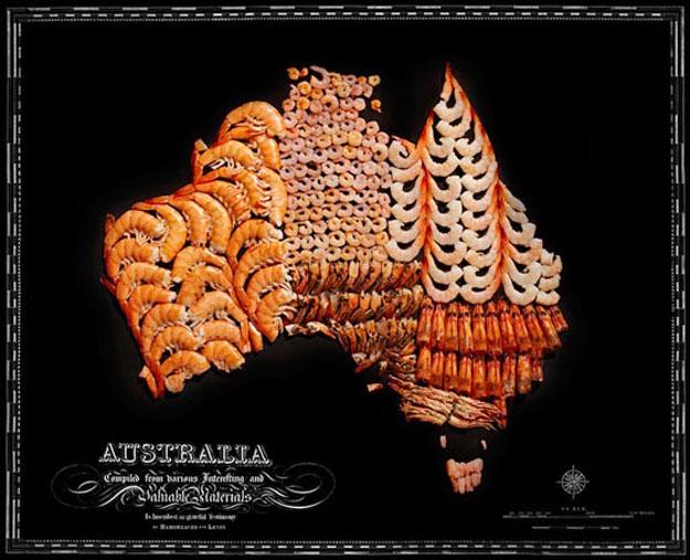 صور خرائط بعض الدول مصنوعة باستخدام الأطعمة