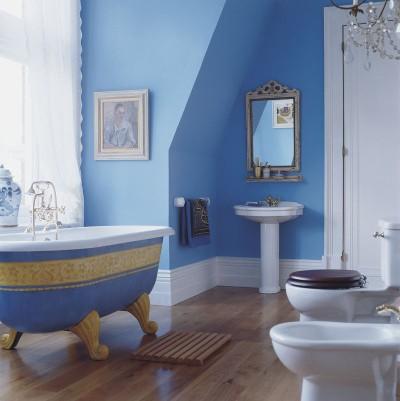 صور ديكورات حمامات باللون الازرق 2014 , صور تصميمات حمامات مودرن زرقاء اللون 2014