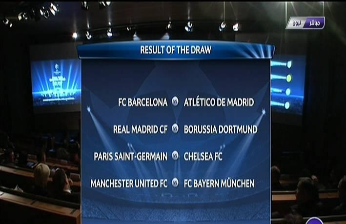 draw result of 8 quarter-finals of the Champions League 2014