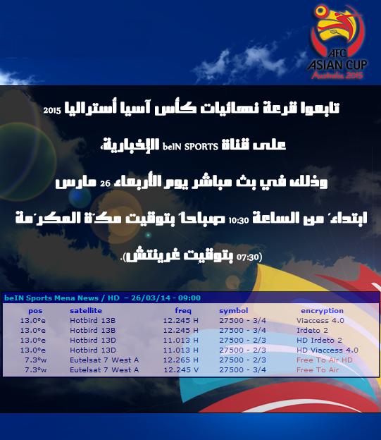 حصريا ً: موضوع موحد للقنوات الناقلة لقرعة نهائيات كأس آسيا - أستراليا 2015