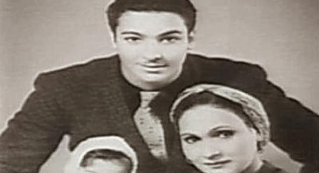 صور رشدى أباظة مع زوجته الأولى وابنته وهو في مرحلة الشباب