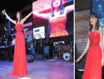 سيرين عبدالنور بفستان أحمر حفلتها